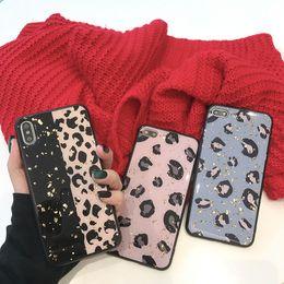 Patrón de leopardo Cajas del teléfono Oro TPU Lado suave para Iphone Xs Max Epoxy Proceso Caja del teléfono celular para Iphone 6 7 8 Plus desde fabricantes