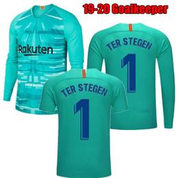 Argentina 2019 2020 adultos manga larga azul Ter Stegen portero Jersey camisetas de fútbol # 1 Marc-Andre Ter Stegen 19 20 azul verde camisetas de fútbol cheap green goalkeeper jersey Suministro