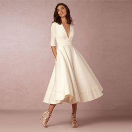 vestidos de fiesta midi Rebajas Las nuevas mujeres elegante vestido de media manga cuello en V profundo blanca Midi señoras vestidos de cintura de fiesta informal DZ001