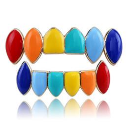 Regenbogenseite online-Sieben Farben Dental Grills Rainbow Teeth Grill Mode Bright Side Braces Hip Hop Single Doppelreihen New Style 23ja O1