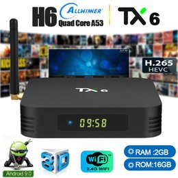 Scatole di streaming online-nucleo TX6 Android9.0 TV Box Allwinner H6 Quad 2 + 16GB 4 + 32 / 64GB Lettore multimediale in streaming di sostegno 2.4G / 5G si raddoppia Wifi BT5.0
