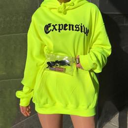 2019 ropa de moda Primavera Otoño Mujeres Sudadera Casual Trendy Loose Pocket Streetwear Con Capucha de Neón Verde Carta de Impresión de Manga LargaTrend ropa rebajas ropa de moda