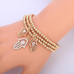 gold hand chain for women Coupons - Gold Evil Eye Bracelet Turkish CZ Crystal Small Charm Hand Of Hamsa Bracelets For Women Elastic Chain Fashion Bead Jewelry Gifts