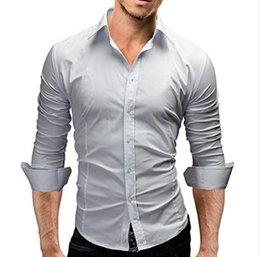 Ropa casual de oficina hombres online-Clásico Color sólido Camisas de vestir de manga larga para hombres de negocios Camisa formal delgada para hombre Camisa social informal Ropa de trabajo de oficina