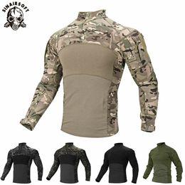 2019 taktische t-shirts Mens Camouflage Tactical T-Shirt Reißverschlusstasche Langarm Baumwolle Atmungsaktiv G3 Combat Frog Shirt Männer Trainingshemden T-Shirt günstig taktische t-shirts