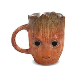 copo de café dos desenhos animados 3d caneca Desconto 3D Groot Resina De Aço Inoxidável Canecas de Café Criativo Dos Desenhos Animados Leite Xícaras De Chá Em Casa Bar Copo de Cerveja Árvore Homem Caneca para o Presente do Amigo 500 ml
