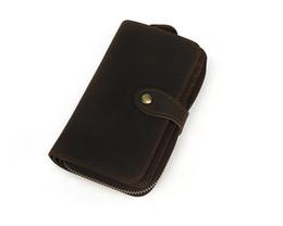 Bolsa de teléfono marrón online-Marrón largo de cuero genuino Custom Phone Wallet Organizador de viaje Wallet Zipper Big Wallet Para hombres con poliéster Material de forro