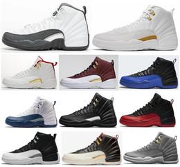 Zapatos de baloncesto ovo online-12s nuevos zapatos oscuros gris del juego Real FIBA Juego de Pelota OVO blanca baloncesto de los hombres de la segunda fase 12 Azul Azul francesa CNY las zapatillas de deporte con la caja