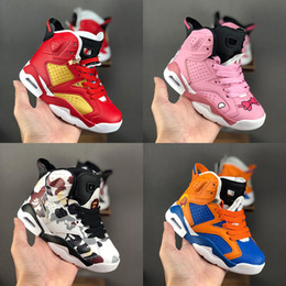 Scherza i pattini del progettista di marca online-Kids Classic 6s Basketball Shoes Big Boys Girls High Top Sneakers Luxury Designer Brand Sports Trainers Red Pink Blue black Camo Size 28-35