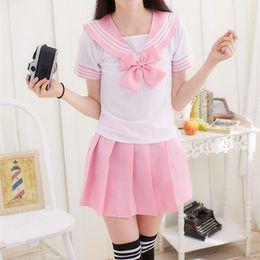 Laço uniforme da escola on-line-Escola japonesa Uniforme Meninas Marinheiro Tops + Tie + Saia Marinha Estilo Estudantes Roupas Para Menina Plus Size Lala Cheerleader roupas C18122701
