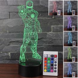 Ha condotto il telecomando principale online-Smart Home Iron Man 3D Night Light LED Telecomando Touch Colorful Visual Light Luci visive