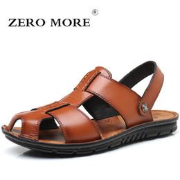 32fe7697694d ZERO MORE Mens Shoes Large Sizes Split Leather Designer Sandals Summer  Slipper Men Shoes Beach Rome Gladiator Slip Sandals Men