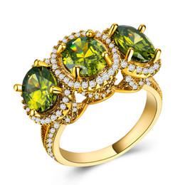 anello di peridot giallo oro Sconti Anello femminile di lusso in oro giallo grande vintage Anello in pietra di peridoto viola giallo grande Promessa Amore Anelli di fidanzamento per donne