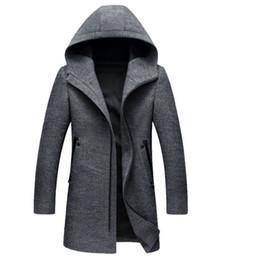 2019 diseños de lana superior 2019 Invierno estilo británico de los hombres abrigo de lana de Nueva diseño de la cremallera larga capa de foso Ropa de la marca Top con capucha de lana de calidad diseños de lana superior baratos