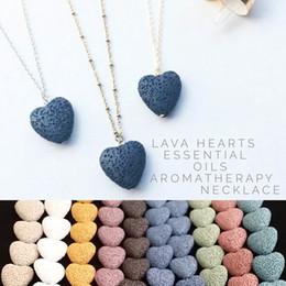 tag kragenschloss Rabatt Herz Lavagestein Halskette 9 Farben Aromatherapie ätherisches Öl Diffusor Heart-shaped Stein Halsketten für Frauen Fashion Jewelry A0097