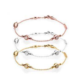 2018 NUOVO 100% 925 Sterling Silver Classic Logo Charm Modern Love Bracciale in oro rosa Brillare Clear CZ Baccelli regalo gioielli fai da te perline supplier modern gold bracelets da braccialetti d'oro moderni fornitori
