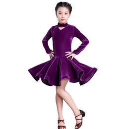 Bambini ragazza vino velluto abiti latini Ginnastica Discoteca Concorso  Danza Costume da ballo per bambini Dance Dress For Girls d2dc811e0d8