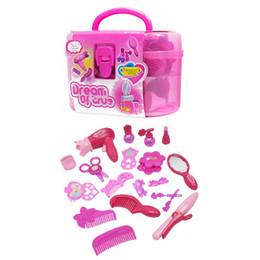 Fashionable Girl Make Up Accessori Giocattoli da gioco per bambini Simulazione Asciugacapelli Set di medicazione per parrucchiere da cosmetici naturali fornitori