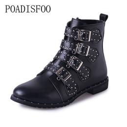 Botines de cuero con tachuelas en negro Hebillas de tacón bajo Botas altas para mujer Zapatos Mujer Zapatos para mujer Tamaño 42 HYKL 6618