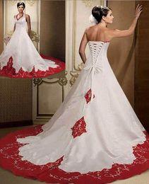 simples vestidos elegantes de color rojo Rebajas Excelente calidad elegante rojo oscuro y blanco vestidos de novia 2019 sin mangas sin mangas por encargo corte tren satinado bordado vestido de novia
