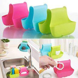 Prateleiras de pia on-line-Hot Selling Silicone Double Sink Caddy Saddle Estilo Kitchen Organizer Armazenamento Sponge Titular estante de ferramentas de Drenagem da cremalheira Ferramentas da cozinha