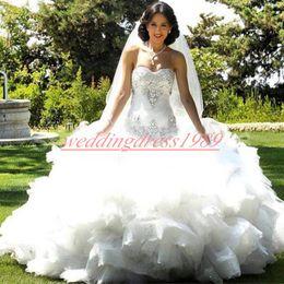 Vestidos nude glamorous on-line-Glamorous Cristal Frisado Lace Vestidos De Casamento Querida Lantejoulas Em Camadas Árabe Plus Size Vestido De Baile De Noiva Para A Noiva Mariage robe de mariée