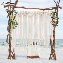 Perchas de cortina online-Macrame boda Telón de fondo de muro cortina que cuelga de Boho boda Percha de algodón hecho a mano Arte hogar de la pared decoración de la pared 100 * 115cm
