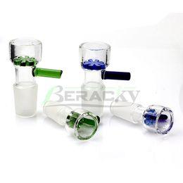 bang fumeur en verre vert Promotion 14mm 18mm Homme Bol en verre avec des bols en verre Piece flocon de neige bleu vert pour le verre sec Herb tabac eau Bangs Dab Rigs fumeurs Accessoires
