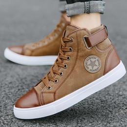 2019 tubo del cordón de los hombres Hombres Sneaker High Tube Zapatos de invierno Hombre Sneakers Transpirable Lace Up Zapatos al aire libre Botas de hombre Calzado Caminar Otoño # 183829 tubo del cordón de los hombres baratos