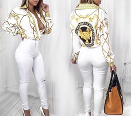 women white button up shirt Coupons - Fashion-2017 Autumn Gold Chain Print Blouses for Women Long Sleeve Turn Down Collar Button up Female Shirt Sexy Casual Ladies Tops
