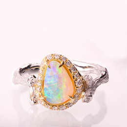 anello di barretta Sconti 2019 Anello bellissimo ramo di albero Romantico di alta qualità colorato CZ grande gioiello opale per le donne anelli da dito anelli di nozze unici