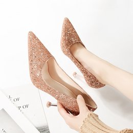 db27a1e650c Sparkly Champagne Sequined Wedding Shoes For Bride Stiletto Heel Prom  Banquet High Heels Plus Size Pointed Toe Shallow Bridal Shoes