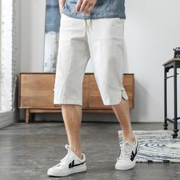 pantacourt hommes de mode Promotion M-5XL taille élastique recadrée pantalons hommes streetwear pantalon en lin hommes plus la taille mode lin pantacourt décontracté homme XXXXXL