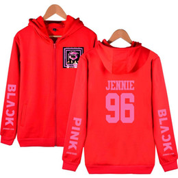 hoodie coreano zipper Desconto hoodies do desenhador Hoodie Grupo menina nova coreano Blackpink Mulheres camisola preta rosa do velo moletom com capuz Roupa Zipper Cardigan