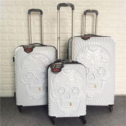 3pcs britanniques crâne PC valise personnalité 3D roue universelle embarquement bagages 20