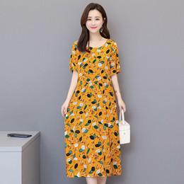 Xl algodão vestidos de maternidade on-line-Mulheres de manga curta de verão de algodão maternidade de seda pode usar XL vestido solto