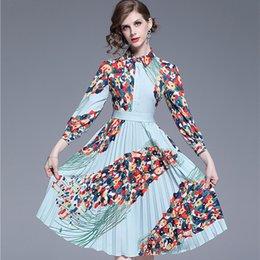 Vestidos de moda pliegues online-Moda de moda retro plisado dress 2019 otoño mujeres turn-down cuello manga de la muñeca camisa de vestir estampado de flores vestido informal