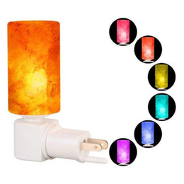 Luz decorativa de cristal de parede on-line-LED RGB Lâmpada de Sal Luz Noturna Decorativo Natural Himalaia Cristal Salt Light Purificador De Ar Lâmpada de Parede Lâmpada de Luz Do Cilindro Do Berçário Do Berçário