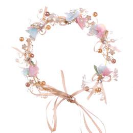 Ornamento de la flor del pelo nupcial online-Hecho a mano nupcial de la corona de la venda del cordón de la flor romántica adornos para el cabello joyas para mujeres niñas guirnalda boda accesorios para el cabello