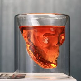75 ML 150 ML 250 ml Creativo Skull Head Copas Whisky Vodka Vino Decantador Botella Whisky Vidrio Cerveza Bebidas espirituosas Copa Agua Vidrio Barra de herramientas desde fabricantes