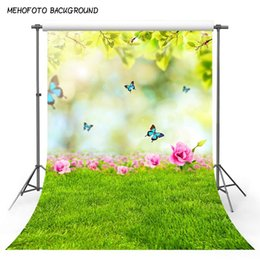 Canada Paysage naturel fleurs d'herbe verte Portrait Enfants Photographie Arrière-plans Sur Mesure Photographique Backdrops Pour Photo Studio cheap natural green flowers Offre