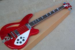 2019 guitarra de corpo semi-oco vermelha Hot Red 4 Cordas Guitarra Baixo Elétrico com Pickguard Branco, Fingerboard Rosewood, Hardware Cromado, Corpo Semi-Oco guitarra de corpo semi-oco vermelha barato