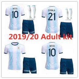 Аргентинская футбольная команда джерси онлайн-19 20 Аргентинский футбол Джерси 2019/20 Кубок Америки Комплект для взрослых MESSI DYBALA DI MARIA AGUERO HIGUAIN сборная 2019 Футбольная форма
