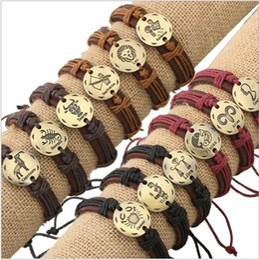 signes chinois: bracelets en cuir Promotion Constellations Bracelets Hommes 2019 Filles Garçons Bijoux De Mode Bracelet En Cuir Femmes Casual Personnalité Signes Du Zodiaque Punk Bracelet Cadeaux