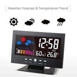 Temperatura da umidade do relógio on-line-LCD Digital Temperatura Medidor de Umidade Termômetro Higrômetro Calendário Despertador Estação de Previsão do Tempo