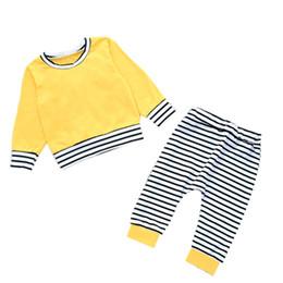 calças pinstripe Desconto Terno Do Bebê Pullover Crianças Manga Longa Define Riscas Orelhas de Coelho Em Torno Do Pescoço Calças Desgaste das Crianças Terno de Duas Peças