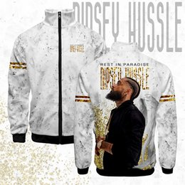 Giacche stampate 3d online-LUCKYFRIDAY NIPSEY HUSSLE mens Uomini Giacca estiva Zipper streetwear Stand Collar Moda 3D stampa vestiti hip hop Giacche Casual