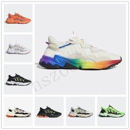 2019 ozweego hommes raf simons chaussures réfléchissantes triple S casual sneakers formateur Neon vert jaune solaire Halloween Tones de base Noir