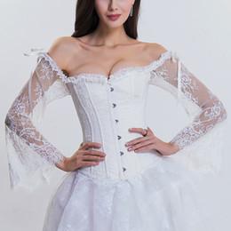 2020 ropa victoriana Largo de la llamarada blanca de estilo victoriano floral de encaje de manga sin tirantes de novia de la ropa interior Sexy Bustiers boda ropa gótica ropa victoriana baratos
