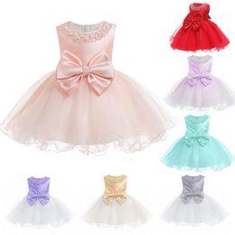 vestidos de batismo para meninas grandes Desconto New Baby Dress Criança Crianças Beading Tulle Vestido com Grande Arco e Hoop Dentro Recém-nascidos Vestido Tutu Meninas Batizado vestido